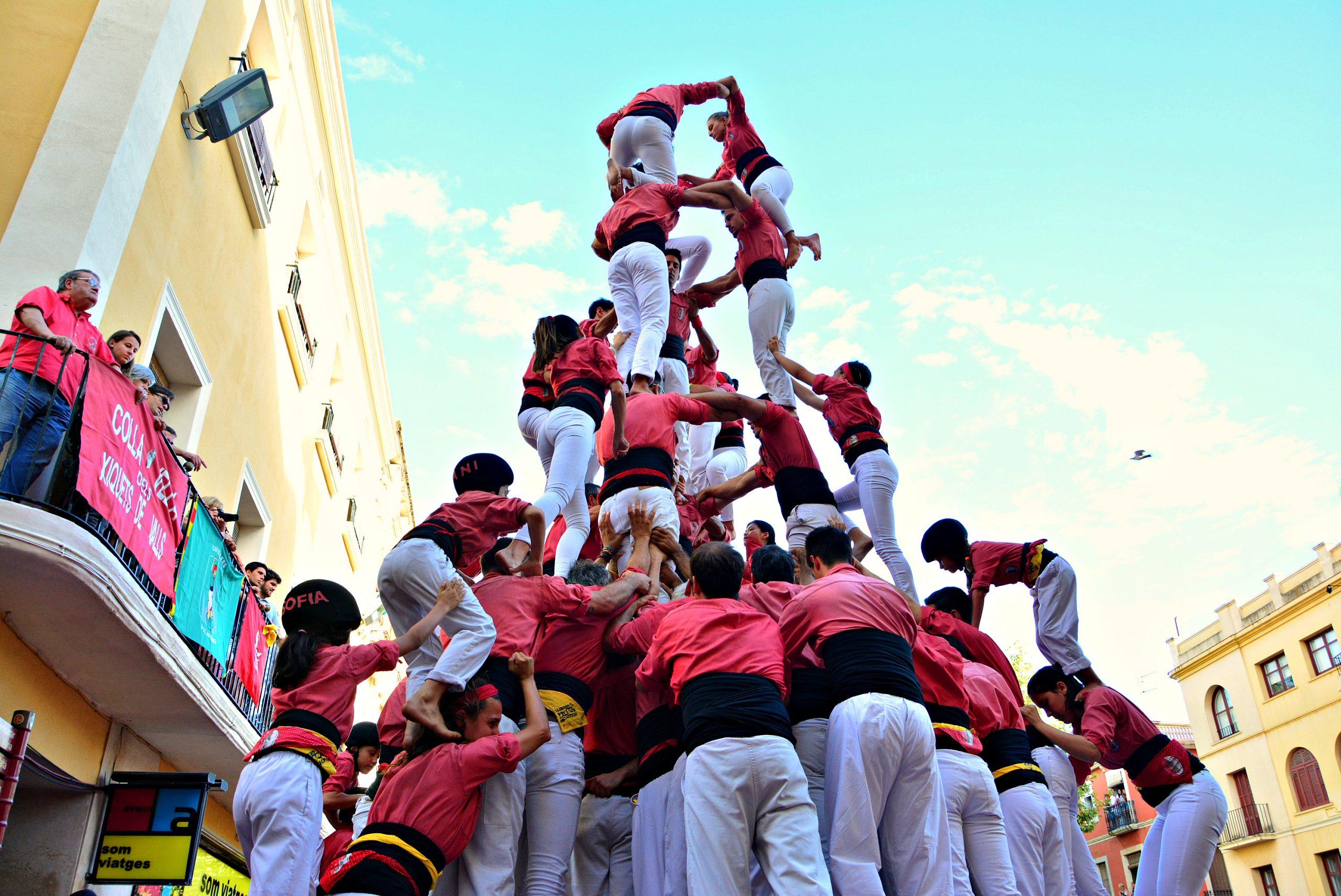 Festes de la Mercè med människopyramider i Barcelona